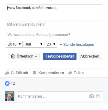 facebook - Profilbild - Eintrag der Fanpage