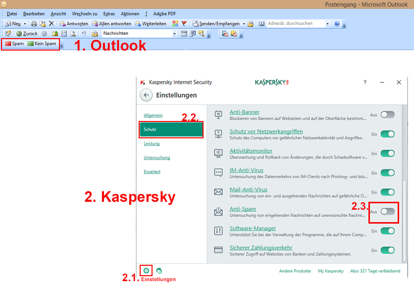 Aktivieren von Anti-Spam in Kaspersky Internet Security