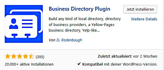 blic-voraus: Business directory plugin